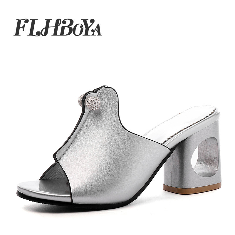 New Women Summer Fashion Block heel Slipper Sandals Hollow Square High Heels Shoe Woman Open Toe Slip-on Crystal Ladies Slippers 2015 new big size sexy high heel slipper women fashion woman slippers summer platform slides brand soft pu slip on lady slippers page 1