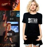 2015 American Anime The Flash Barry Allen Star Lab Laboratories T Shirt Woman Black Comics Tee