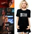 2015 Animado Americano El Flash Barry Allen Estrella Lab Laboratorios Tee Mujeres Camiseta De Impresión Camiseta Mujer Negro Comics Superhéroe