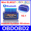 Super Mini Bluetooth V2.1 ELM327 OBD2 OBDII Auto Ferramenta de Diagnóstico ELM 327 Sem Fio Em Android do Windows Com 12 Tipos de Línguas