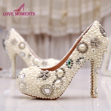 Wholesale Amazing Elegant Ivory Pearl Party Prom Shoes Custom Design Free  Shipping Wedding Bridal Shoes Birthday 45d1e83a334a