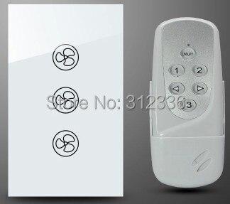 Livraison gratuite 120 MM 2 PCS/LOT = 1 PC commutateur + 1 PC télécommande verre tactile interrupteur mural ventilateur électrique régulateur de vitesse trempe verre