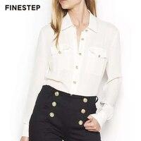 Чистый шелковые блузки для Для женщин высокое качество Для женщин Офисные женские туфли рубашка 2018 Формальные Для женщин блузка