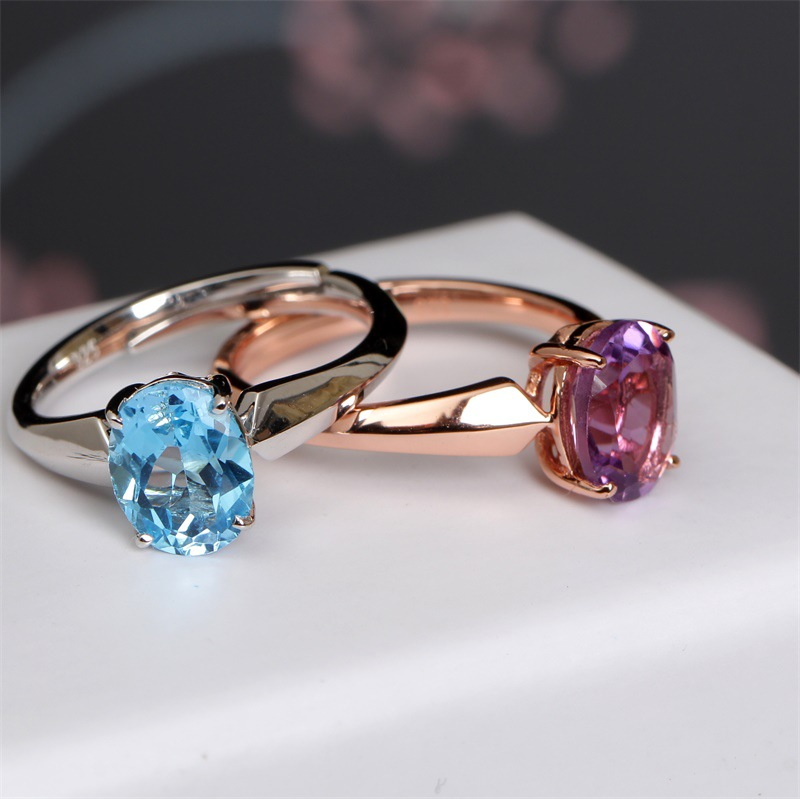 fashion jewelry Gem ring female natural color treasure couple ring silver purple crystal gold ring