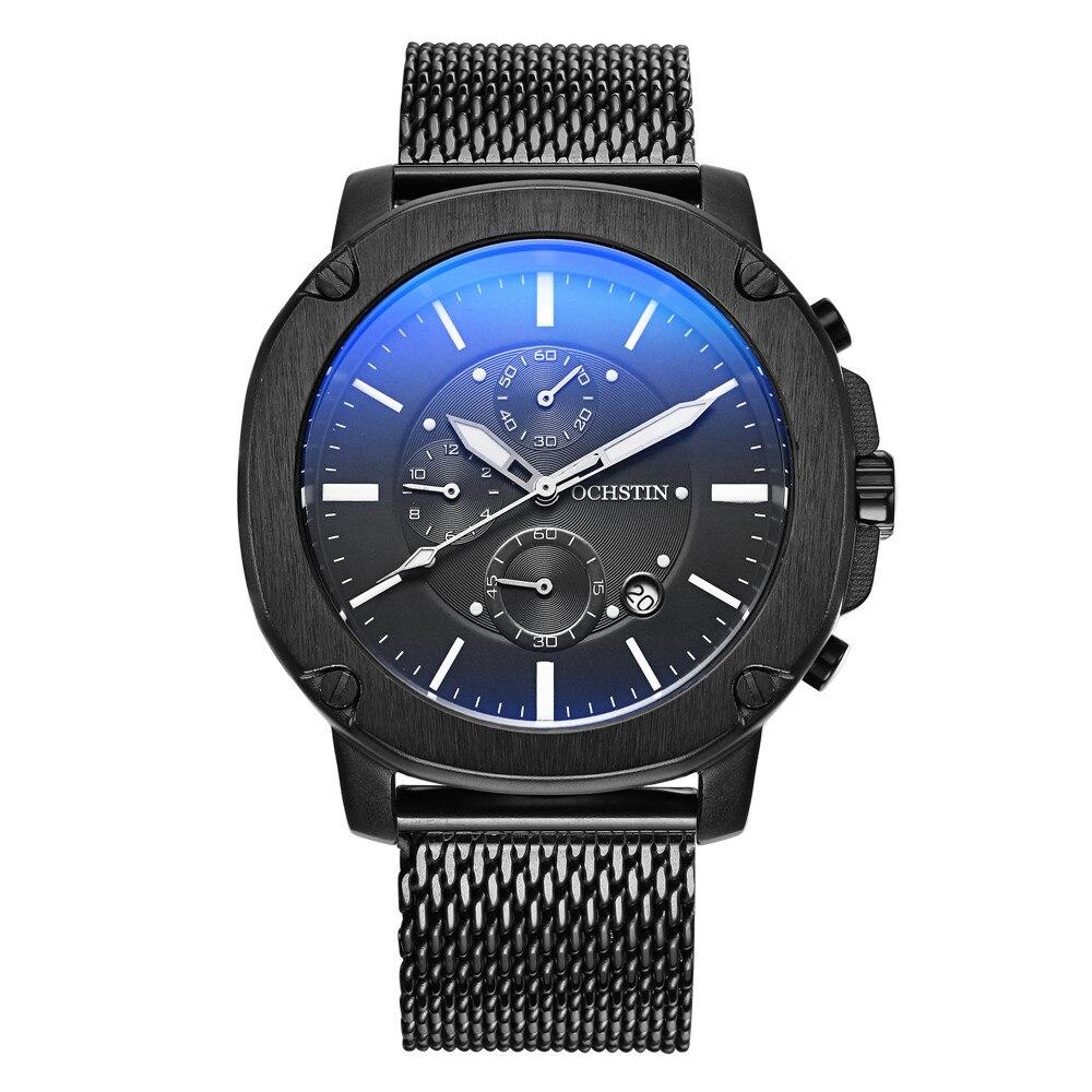 OCHSTIN Marque Nouvelle Mode Casual Homme Mâle Calendrier Horloge Militaire Armée Sport En Acier Inoxydable De Luxe Poignet Quartz Montre GQ039
