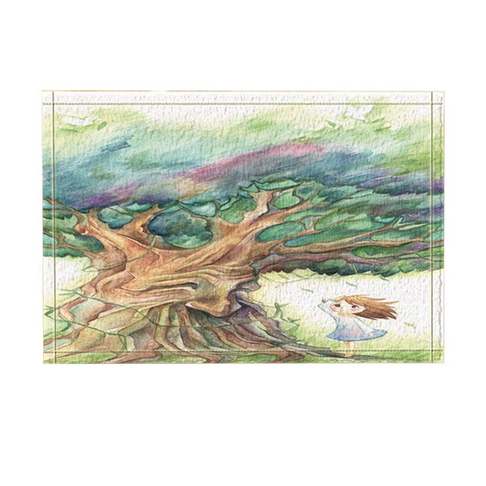 Kids Decor Cartoon Girl Under The Life Tree In Wind Bath