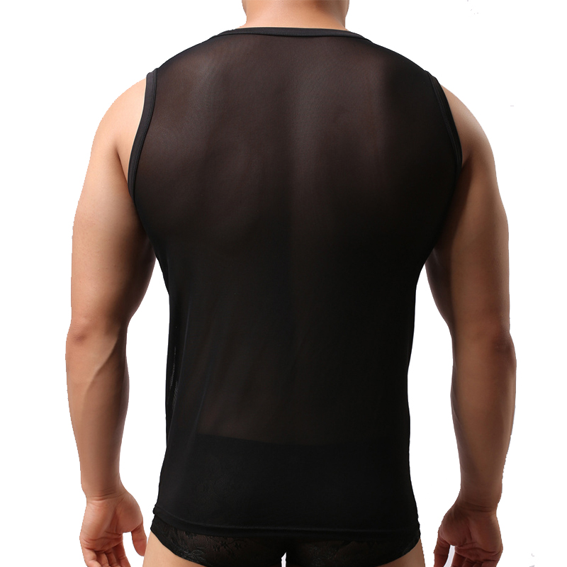 Men Mesh Lace Sheer Quick Dry Tank Tops Vest Male Sexy Singlet Transparent Shirt Black Sleeveless Net Bodybuilding Undershirts in Tank Tops from Men 39 s Clothing