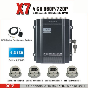 """4CH H.264 AHD Mobile Surveillance DVR with RJ45 Port & 4.3"""" TFT LCD & HDD/USB/SD Card Local Recording & Extensible GPS Supported"""