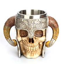 Medieval Stainless Steel Double Handle Horn Skull Mug Cups Beer Warrior Tankard Viking Skull Drinkware Mug For Coffee Juice tankard tankard r i b