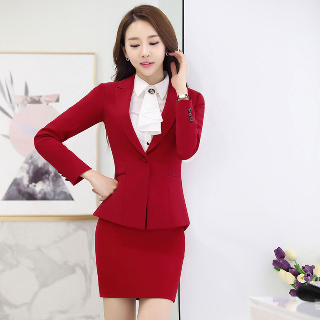 ea69afd3f98b Novelty Red Professional Autumn Winter Formal Uniform Styles Work Suits  With Jackets And Skirt For Business