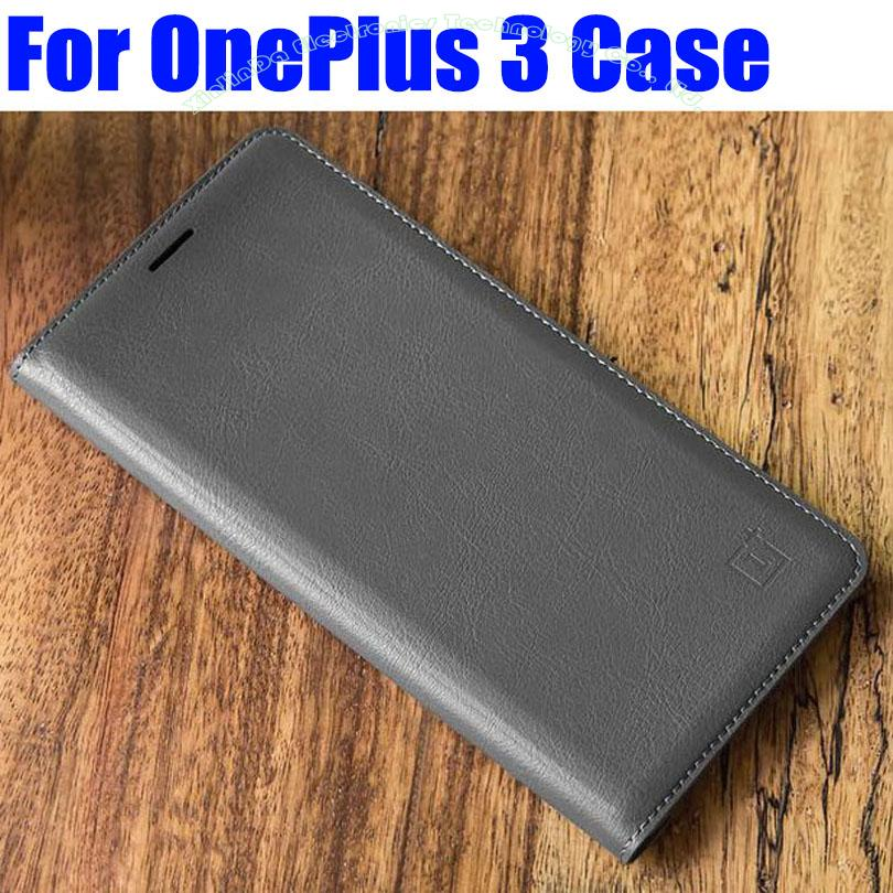 For ONEPLUS 3 3T-deksel Luksus PU-skinnflipdeksel av beste kvalitet For OnePlus3 3T Smart Wake UP / Sleep + Skjermbeskytter OP01
