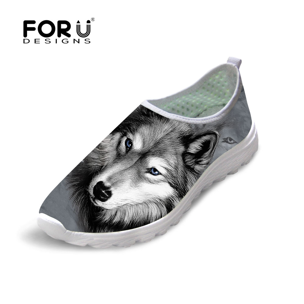 FORUDESIGNS Casual Autumn Summer Mesh Shoes Men's 3D Animal Wolf Shoes Cool Pet Dog Husky Pug Printed Beach Water Shoes Slip-on