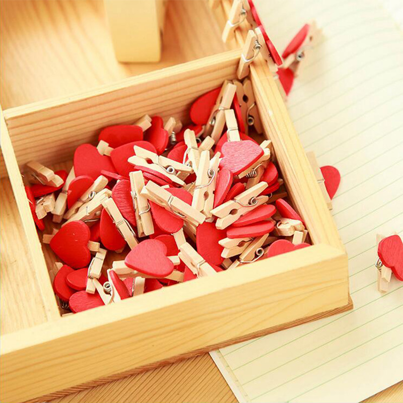 10 Pcs/lot Mini Love Heart Photo Clips Wooden Clip DIY Photo Wall Craft Pegs With Hemp Rope Classification Clip