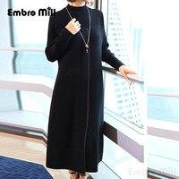 Высококлассное осенне зимнее женское платье в китайском стиле винтажное элегантное женское свободное трикотажное плотное платье M 4XL