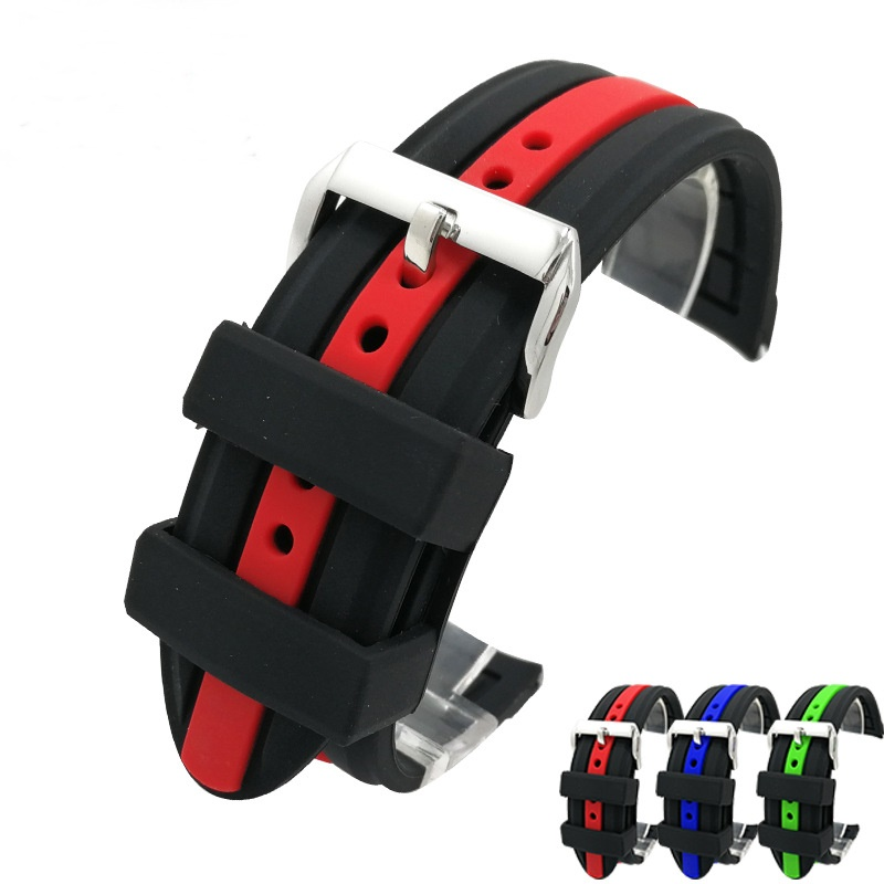 Soft Sport Silicone Watchband 20mm 22mm 24mm Rubber Diving Waterproof Replacement Bracelet Band Strap Watch Accessories