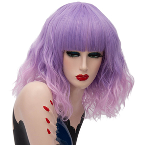 Image 5 - Yiyaobess 16inch Synthetic Short Wavy Cosplay Wig With Bangs Natural Brown Purple Pink Ombre Hair Woman Wigs For Halloween Party
