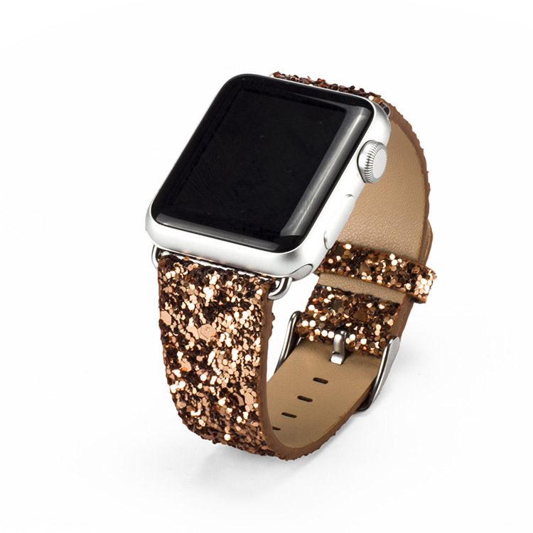 2017 new fashion sequins watch band for apple watch shinning leather band  for women i watch replacement offical colors hot sale-in Watchbands from  Watches ... 7c5088c68