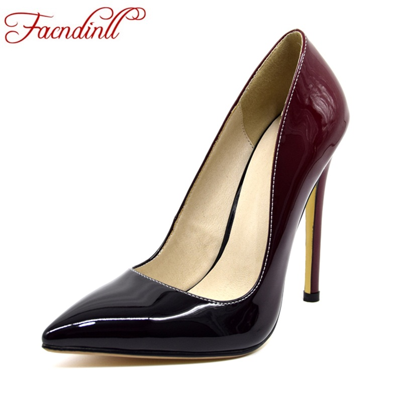 FACNDINLL women 2018 new fashion high quality thick high heels pointed toe shoes woman dress party wedding pumps spring summer fashion new spring summer med high heels good quality pointed toe women lady flock leather solid simple sexy casual pumps shoes