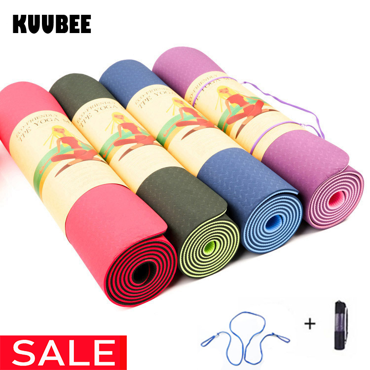 6MM Density TPE Yoga Mat Exercise Pad Non-slip Folding Gym Fitness Pilates Supplies Non-skid Floor Play Mat