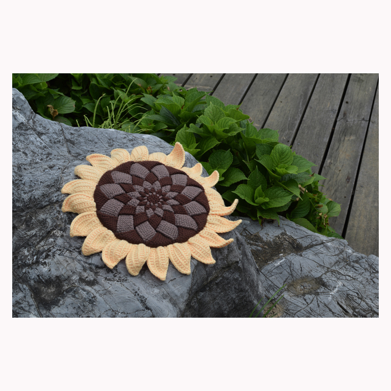 Original Sunflower Handmade Crochet Seat Cushion Diy Round Flower