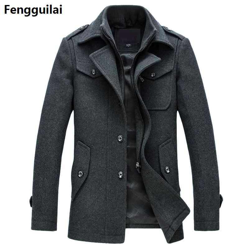 Pea Coat Jackets Slim-Fit Plus-Size Winter Casual Fashion Outerwear New Warm Man Wool