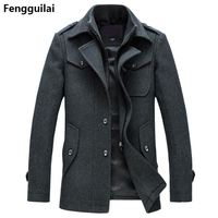 New Winter Wool Coat Slim Fit Jackets Fashion Outerwear Warm Man Casual Jacket Overcoat Pea Coat Plus Size M XXXL