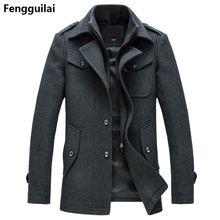 Novo casaco de lã de inverno fino ajuste jaquetas moda outerwear homem quente jaqueta casual casaco ervilha plus size M XXXL