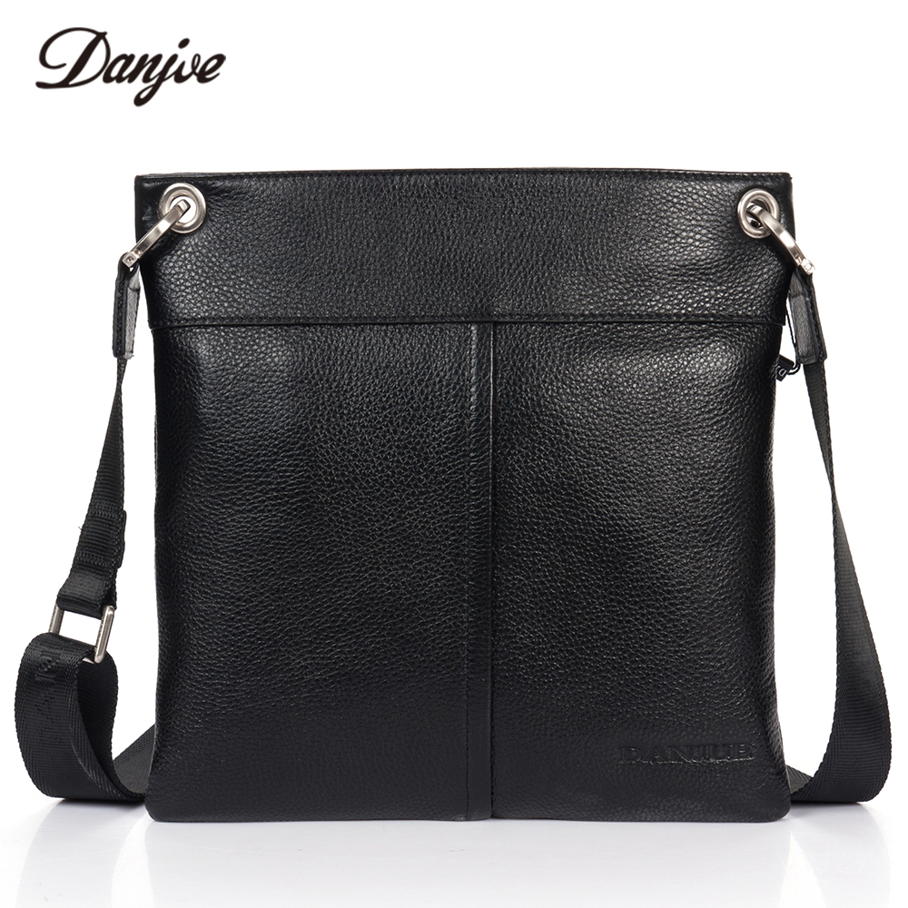 DANJUE Men Messenger Bag Genuine Leather Thin Daily Bag Leisure Casual Bag Male Natural Leather Man Business Bag Classic Style 247 classic leather