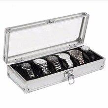 цена OUTAD Watch Box 6 Grid Insert Slots Jewelry Watches Display Storage Box Case Aluminium Jewelry Decoration Winder онлайн в 2017 году
