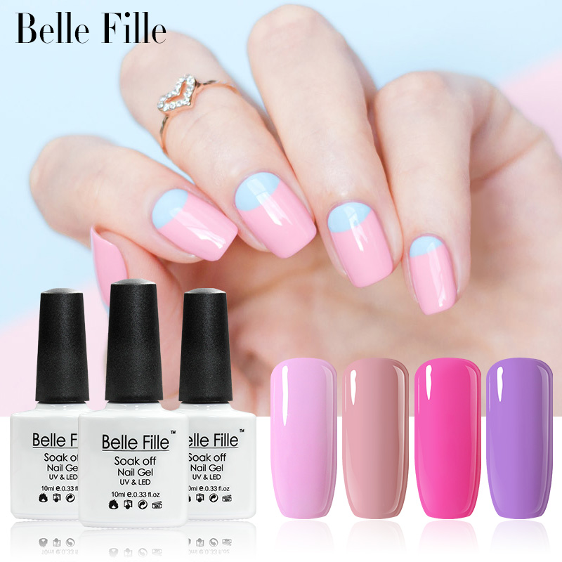 Belle Fille UV Nail Gel Polish Rose Gel UV LED Pink Purple Gel Nail Lacquer Soak Off Varnish Shining Bling fingernail Polish