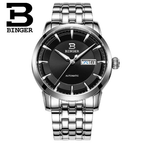 Geneva Brand Binger Watch Luxury Original Business Men Automatic Mechanical Watches Fashion Stainless Steel Strap Wristwat binger genuine gold automatic mechanical watches female form women dress fashion casual brand luxury wristwatch original box