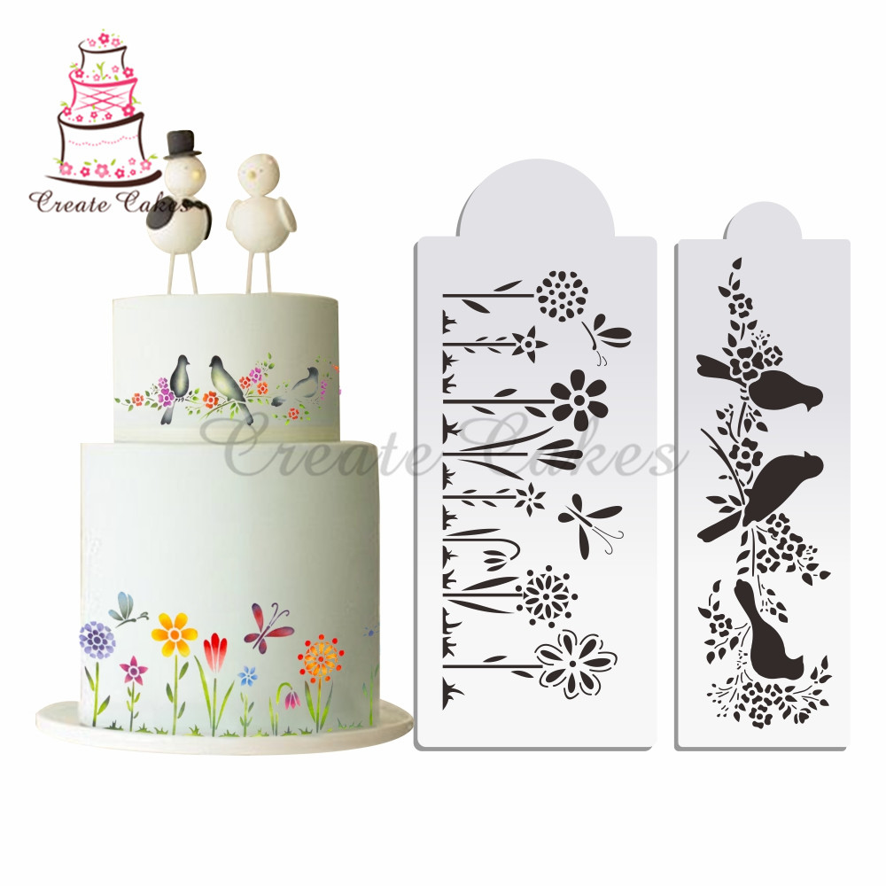 Flower And Birds Stencil Cake Decorating Plastic Mold Design Template Cookies Mould Fondant Tools Bakeware In Molds From Home
