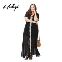 Hodoyi Plus Size Mulheres Nova Moda Longo Vestido de Noite Grande tamanho Camisola Sheer Preto Com Decote Em V Ver Através de Fenda Frontal Kftan Sexy
