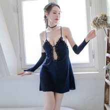 Yhotmeng sexy woman fashion sequin pajamas halter strap nightdress set can be worn outside (giving hand sleeves)