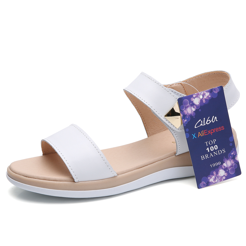 a12693394532 O16U Flat Heels Sandals Shoes Women Genuine Leather T Strap basic Mam  Sandals White beige Casual Beach Sandals Female Summer-in Low Heels from  Shoes on ...