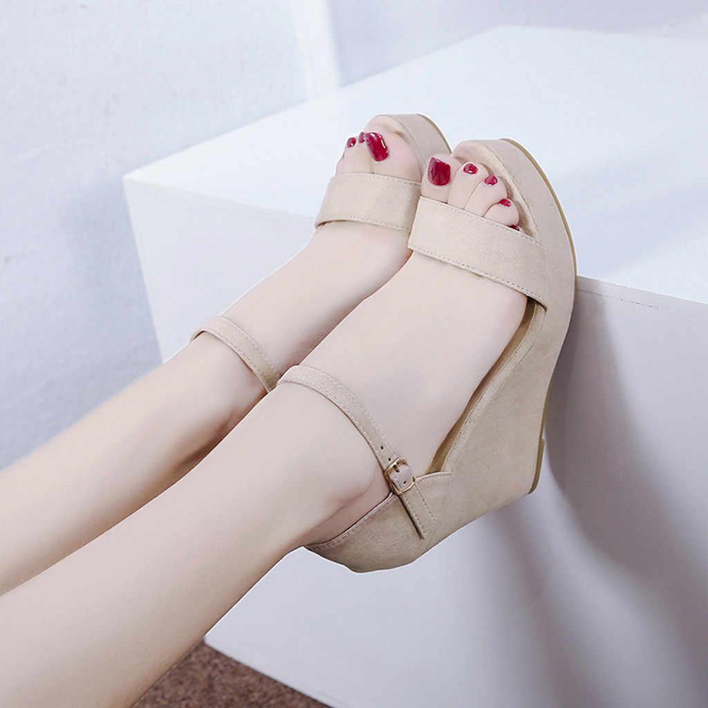 Женские босоножки сандалии на танкетке лето женская обувь на молнии на платформе черный открытый носок женские сандалии 2018 плюс Размеры Дамская обувь # N3