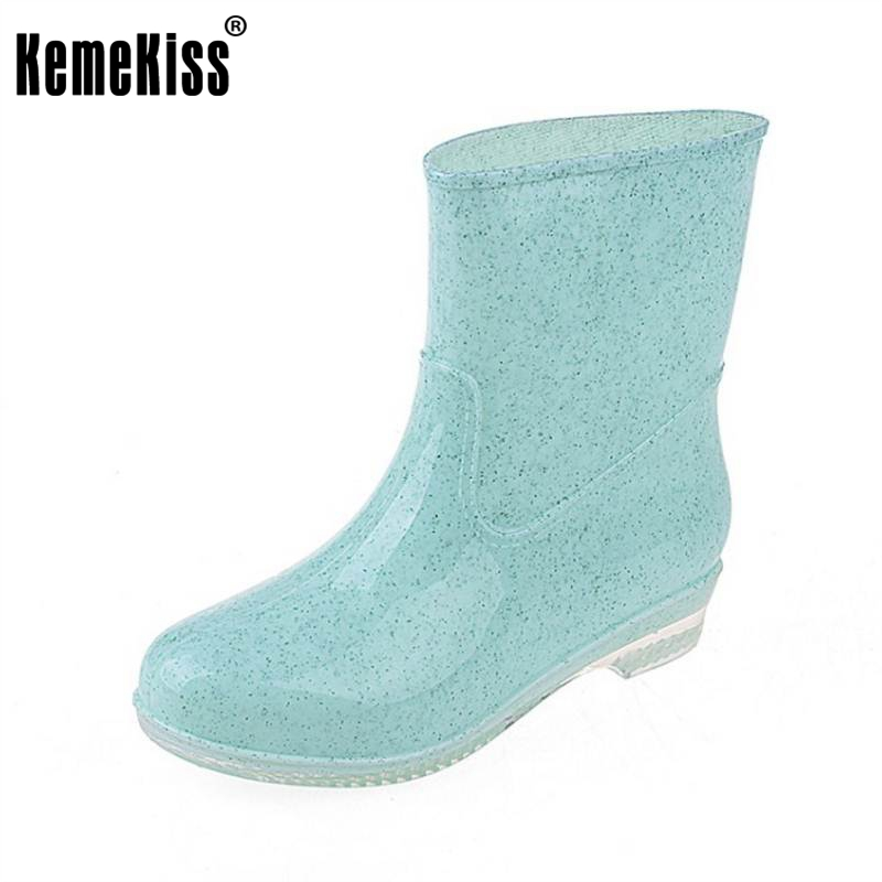 KemeKiss Women Water Proof Mid Calf Boots For Women Candy Color Galoshes Rainy Shoes Women Round Toe Slip On Shoes Size 36-40 double buckle cross straps mid calf boots