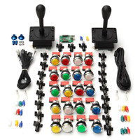 Brand New Arcade Kit Parts DIY 2X Joysticks 20X Multicolor LED Buttons USB Encoder For 2