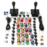 Brand New Arcade Kit Parts DIY 2X Joysticks 20X Multicolor LED Buttons USB Encoder For 2