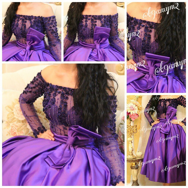 Elegant Tea Length Short Evening Dresses Purple Long Sleeve Gowns Sequins Flowers Off the Shoulder