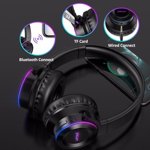 Image 4 - Picun B9 Folding Portable Wireless Bluetooth 5.0 Headphone LED Headset Touch Control earphone With MIC TF Card for mobile phone