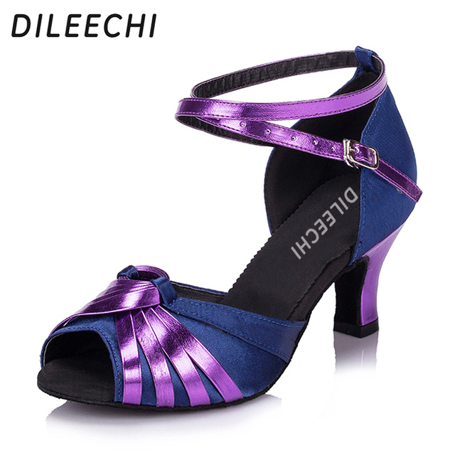 DILEECHI Green Purple Satin Women s Latin dance shoes Ballroom dancing shoes  low heel height 4cm and 6cm 043263af4b5f