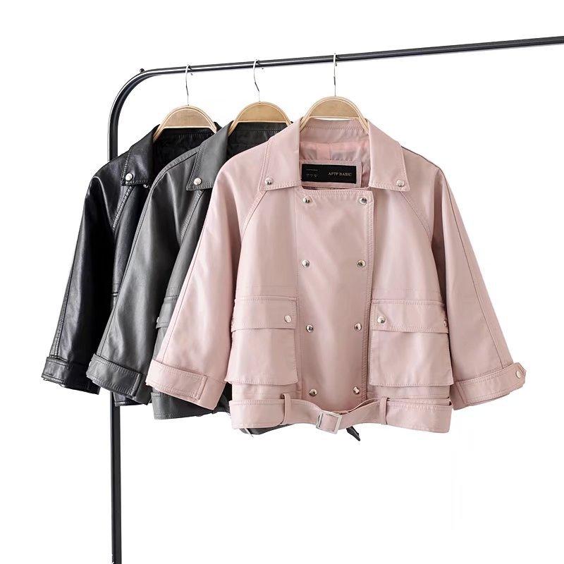 2019 Spring & Winter New Fashion Short Slim 3/4 Sleeve Pu Motorcycle Ladies   Leather   Jackets Casacos Feminino Free Shipping