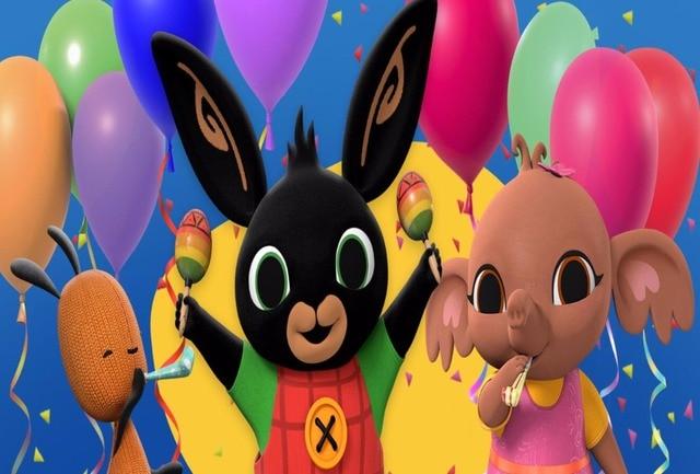 5x7FT Bing Bunny Balloons Confetti Ribbons Custom Photo Studio Backdrop Background Vinyl 220cm x 150cm