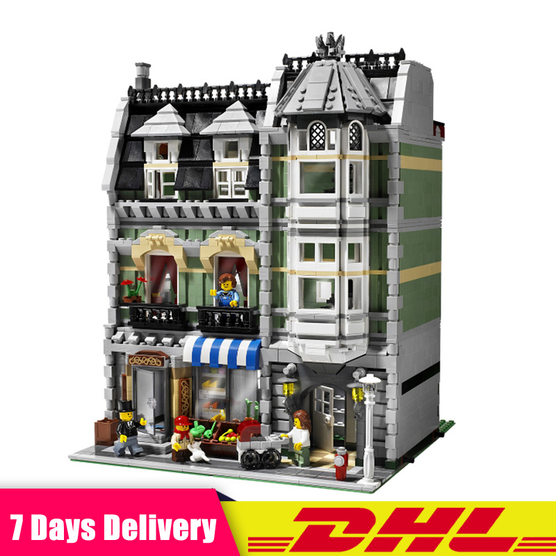 DHL IN Stock LEPIN 15008 2462Pcs Green Grocer City Street Model Building Blocks Bricks Compatible LegoINGlys 10185 Toys Gifts in stock 2462pcs free shipping lepin 15008 city street green grocer model building kits blocks bricks compatible 10185