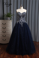 New Arrival Beaded Prom Dresses 2017 Ball Gown Sweetheart Sleeveless Long Party Dress For Graduation Vestidos