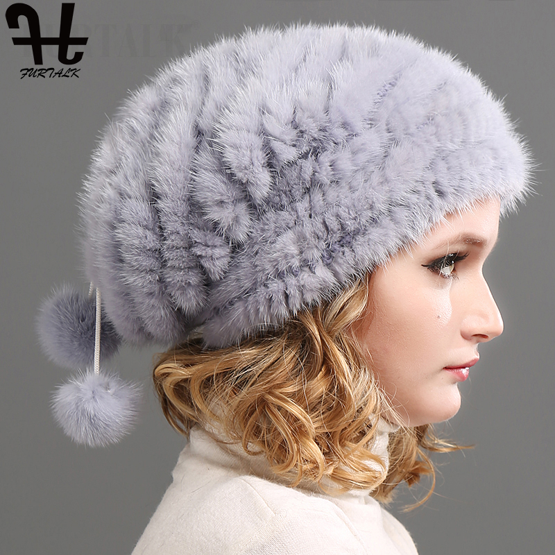 FURTALK Real Knitted Mink Fur Hat Women Winter Fur Hats Slouchy mink fur hats for women