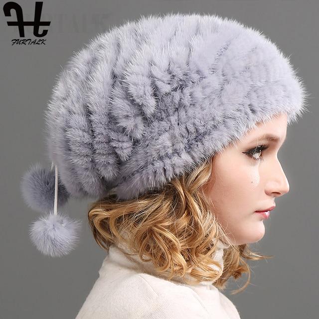 28661b49b2b8b FURTALK Real Knitted Mink Fur Hat Women Winter Fur Hats Slouchy mink fur  hats for women