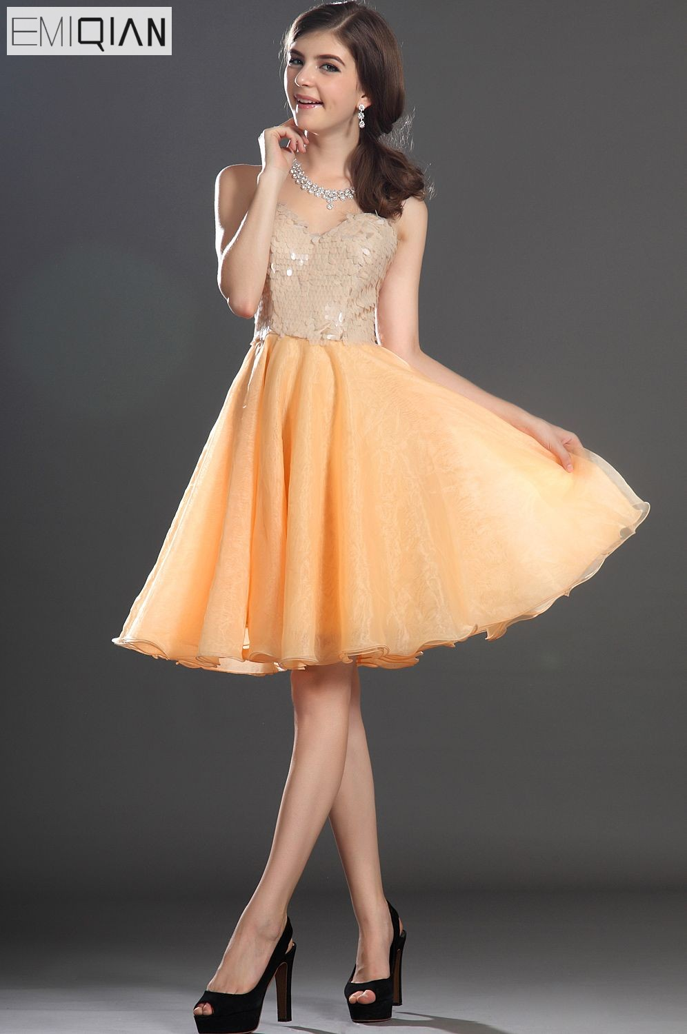 FreeShipping New Gorgeous Strapless Sweety Heart Neckline Sequin Organza   Cocktail     Dress