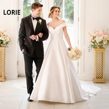 LORIE Simple A-line Wedding Dresses 2019 New Design Scalloped Neck Stain Bridal Dress White ivory Backless Vestidos de novia